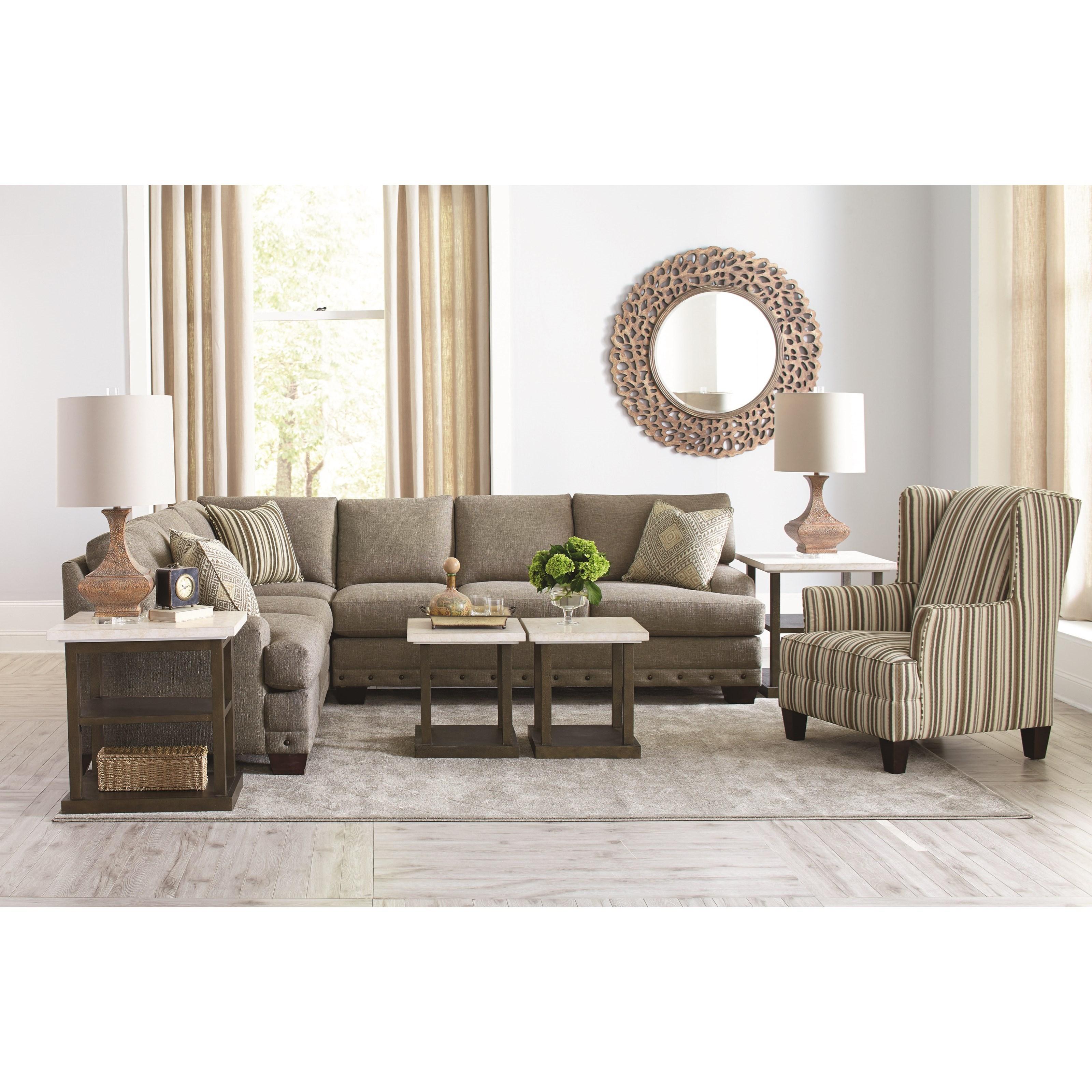 Bassett Cu 2 Carmine Five Seat Sectional Sofa John V Schultz Furniture Sofa Sectional