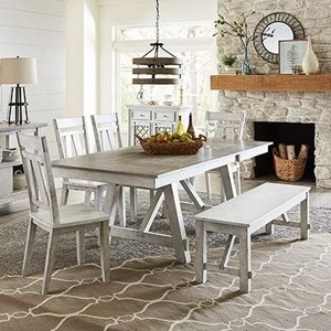 6-Piece Rect. Dining Table Set with Bench