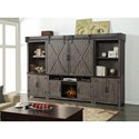Legends Furniture Storehouse Collection Fireplace Entertainment Wall Unit with Wire Management