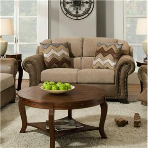 Corinthian 27A0 Contrasting Fabric Casual Loveseat with Stylish Nail Head