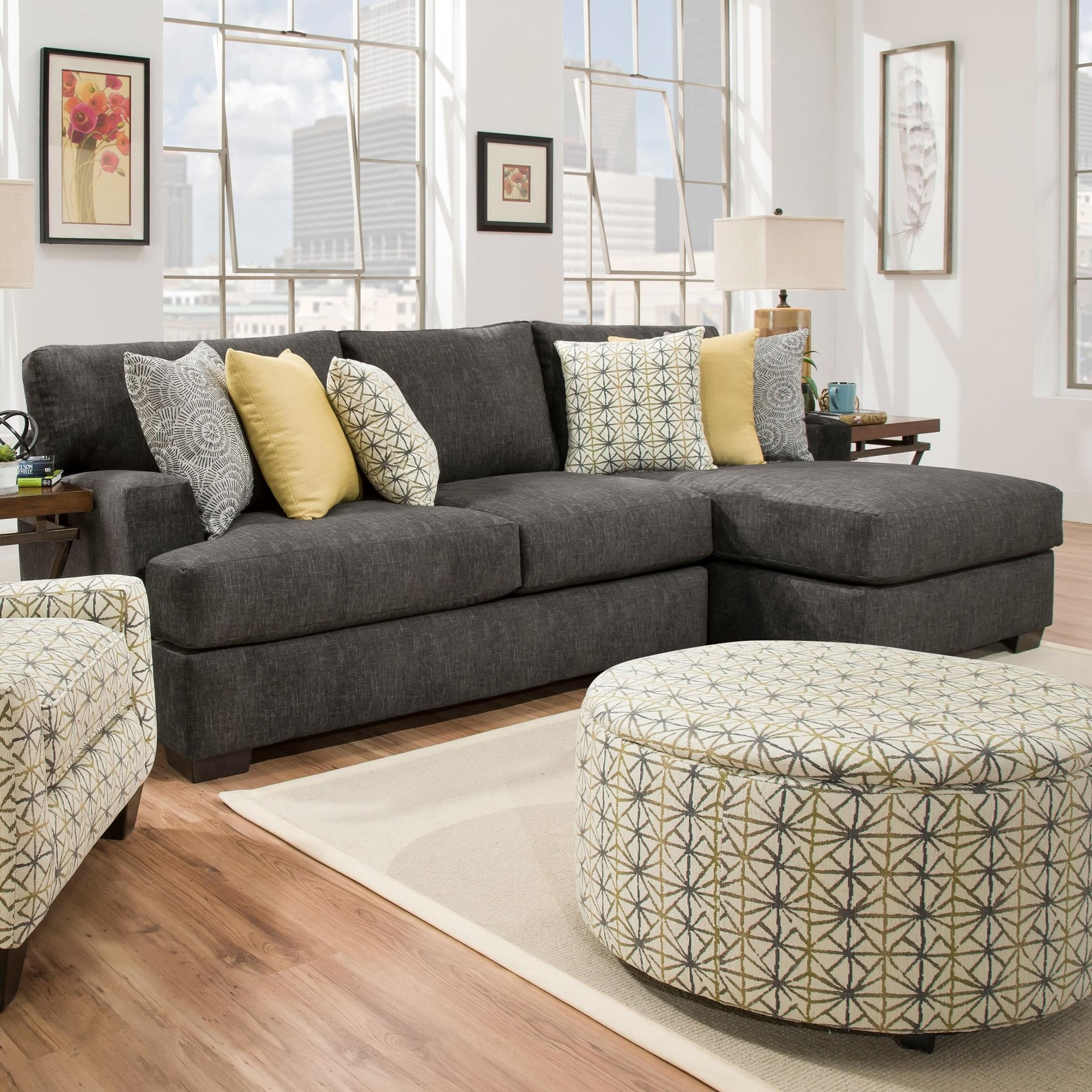 Corinthian 29C0 Three Seat Sectional with Chaise - Item Number: 29C2LC+5RF