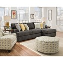 Corinthian 29C0 Three Seat Sectional with Chaise - Ottoman and Chair Available Seperately