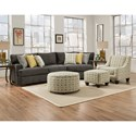 Corinthian 29C0 3 Seat Sectional with Piano Wedge - Chair and Ottomans Available Separately