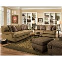 Corinthian 33A Casual Styled Specialty Chair and Ottoman Set  - Shown in Corner with Coordinating Collection Sofa and Loveseat