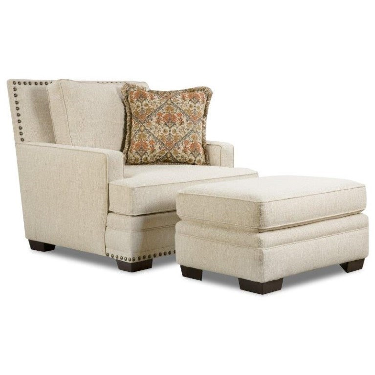 Corinthian 34A0 Chair and Ottoman - Item Number: 34A1+34A6-SUGARSHACK-LINEN
