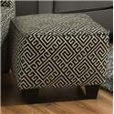 Corinthian 49C0 Contrast Accent Casual Ottoman with Dark Wood Block Feet