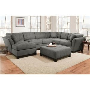 Corinthian Loxley Charcoal Left Side Facing Chaise Sectional