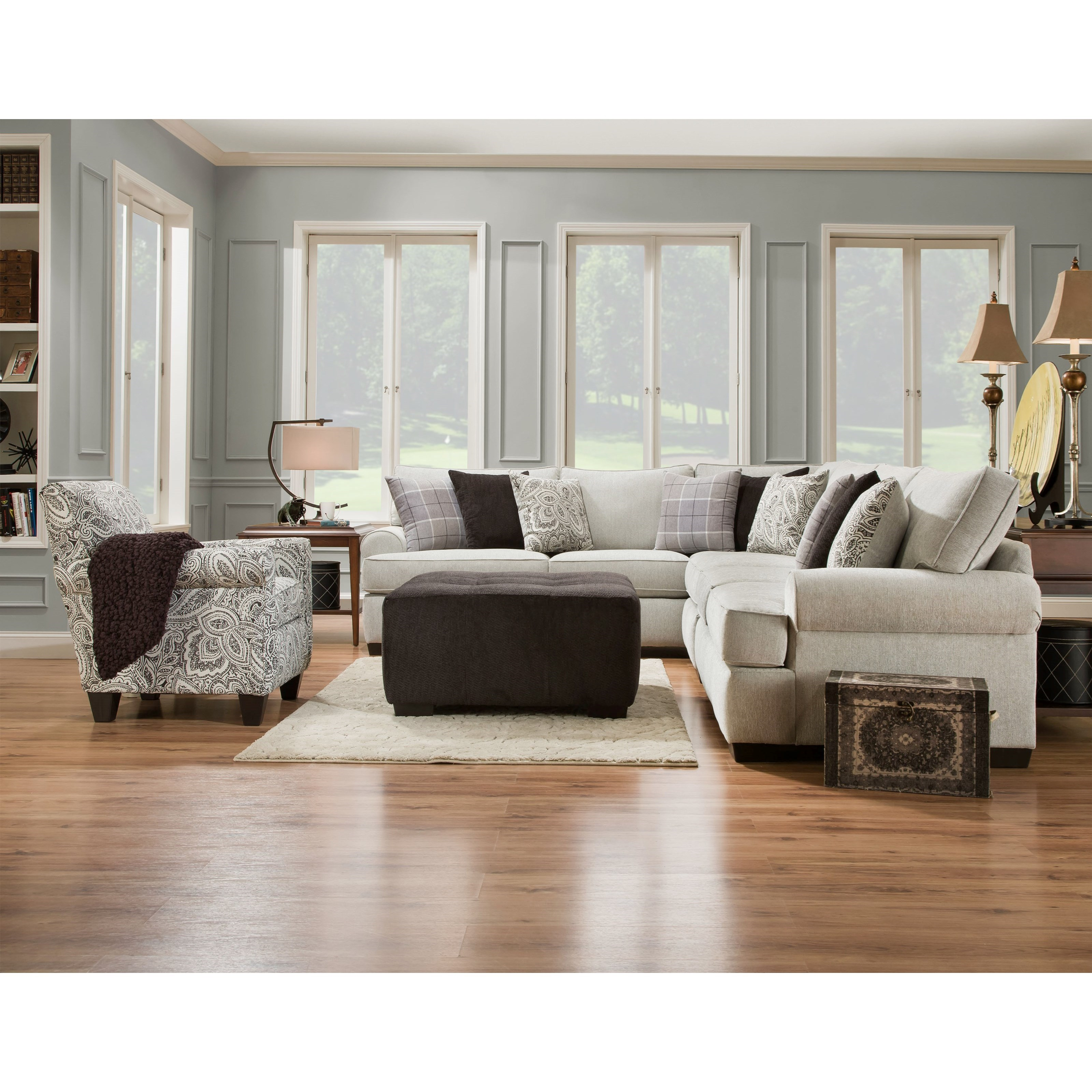 Corinthian 5300 Traditional Styled Sectional Sofa With: Corinthian 5900 5-Seat Sectional Sofa