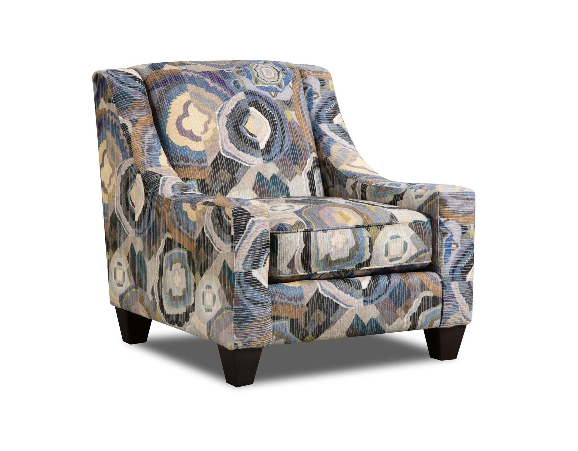 Corinthian Paradigm Admiral Patchquilt Cornflower Accent Chair - Item Number: AC2060