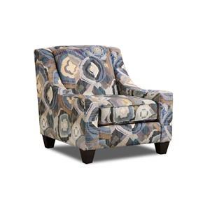 Corinthian Paradigm Admiral Patchquilt Cornflower Accent Chair