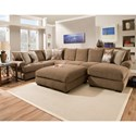 Corinthian 61B0 Sectional Sofa with Right Side Chaise - Item Number: 61B3LC+NA+5RF
