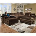 Corinthian 6500 SECT Six Person Sectional Sofa for Contemporary Living Room Displays - Shown with Coordinating Collection Ottoman