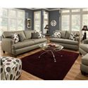 Corinthian 6600 Armless Accent Chair in Contemporary Living Room Style - Shown with Coordinating Collection Sofa and Loveseat. Coordinating Collection Chair and Ottoman Shown on Right Side. Armless Accent Chair Shown in Lower Left Corner.