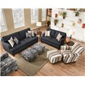Corinthian 6610 Upholstered Accent Chair with Rounded Arms for Living Room Style - Shown with Coordinating Collection Sofa, Loveseat and Accent Ottomans. Additional Coordinating Accent Chair Shown in Lower Right Corner.
