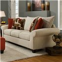 Corinthian 65A0 Casual Sofa with Rolled Flare Arms and Knife Edge Cushions