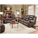 Corinthian 714 Power Reclining Console Loveseat with Cup Holders - Loveseat Shown May Not Represent Exact Features Indicated