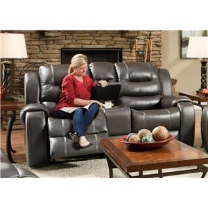 Corinthian Jamestown Jamestown Smoke Reclining Console Loveseat