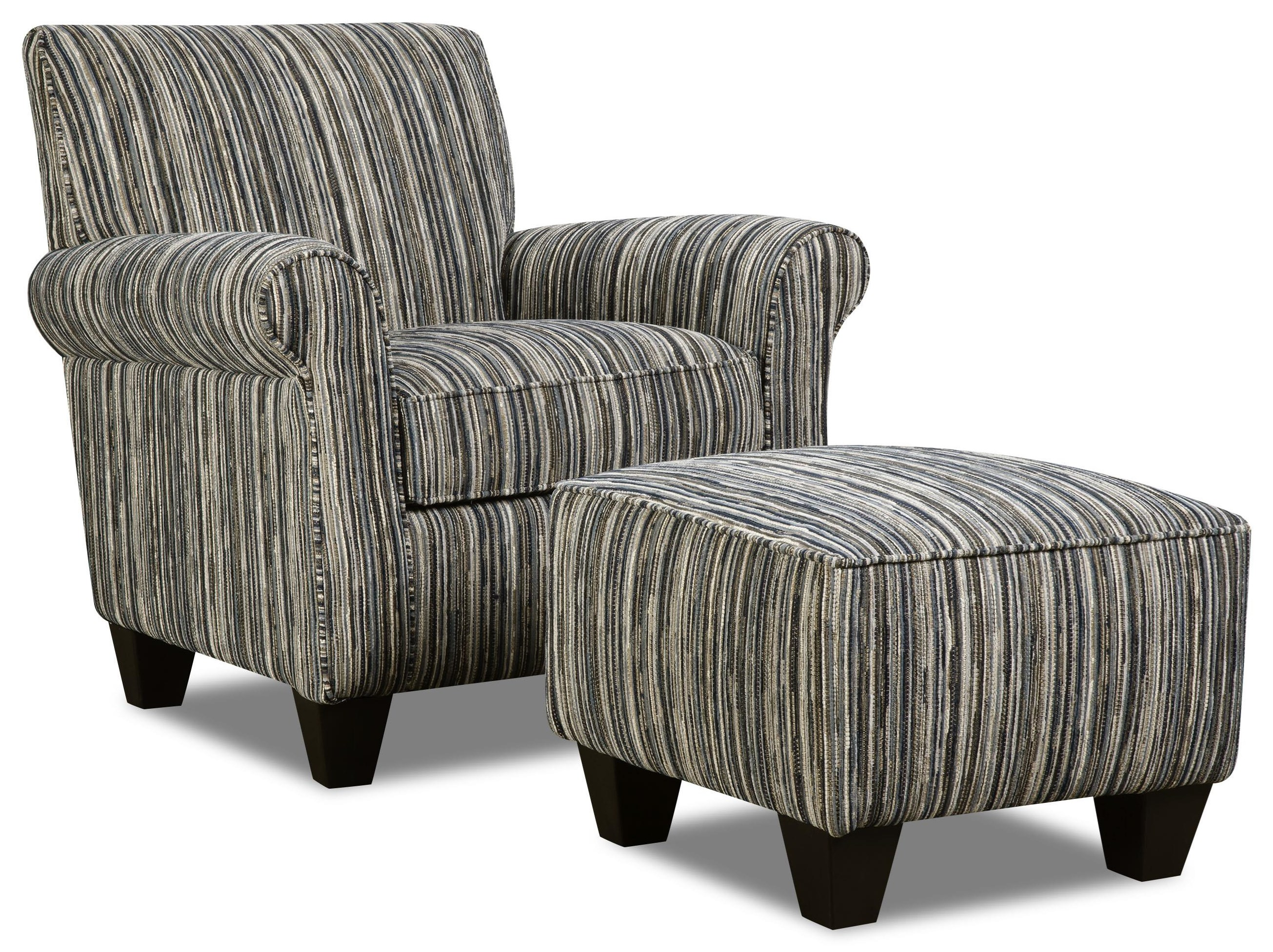Corinthian Rapids Tuxedo Accent Chair & Ottoman Set - Item Number: GRP-AC8737-C O