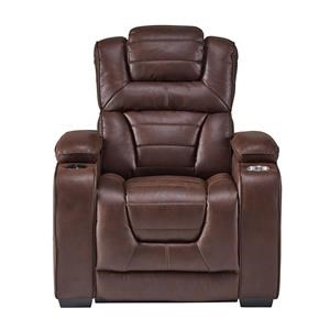 Corinthian Desert Chocolate Power Headrest Recliner with Bluetooth Speak