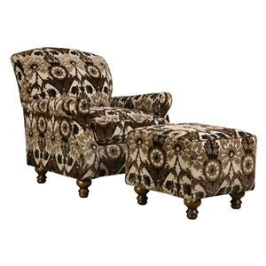 Corinthian 8010 Contrast Accent Chair and Ottoman
