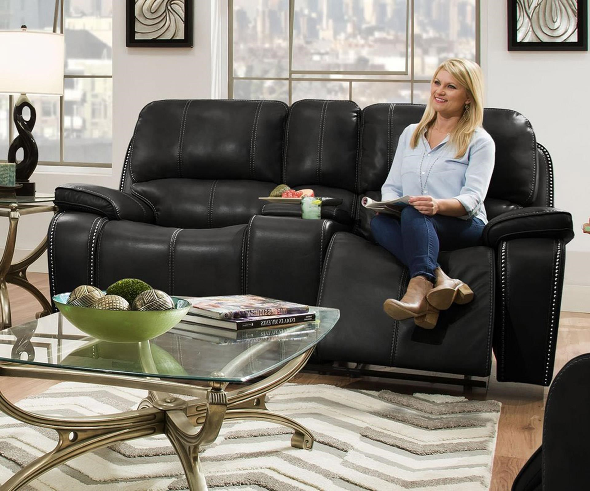 Leather Reclining Console Loveseat