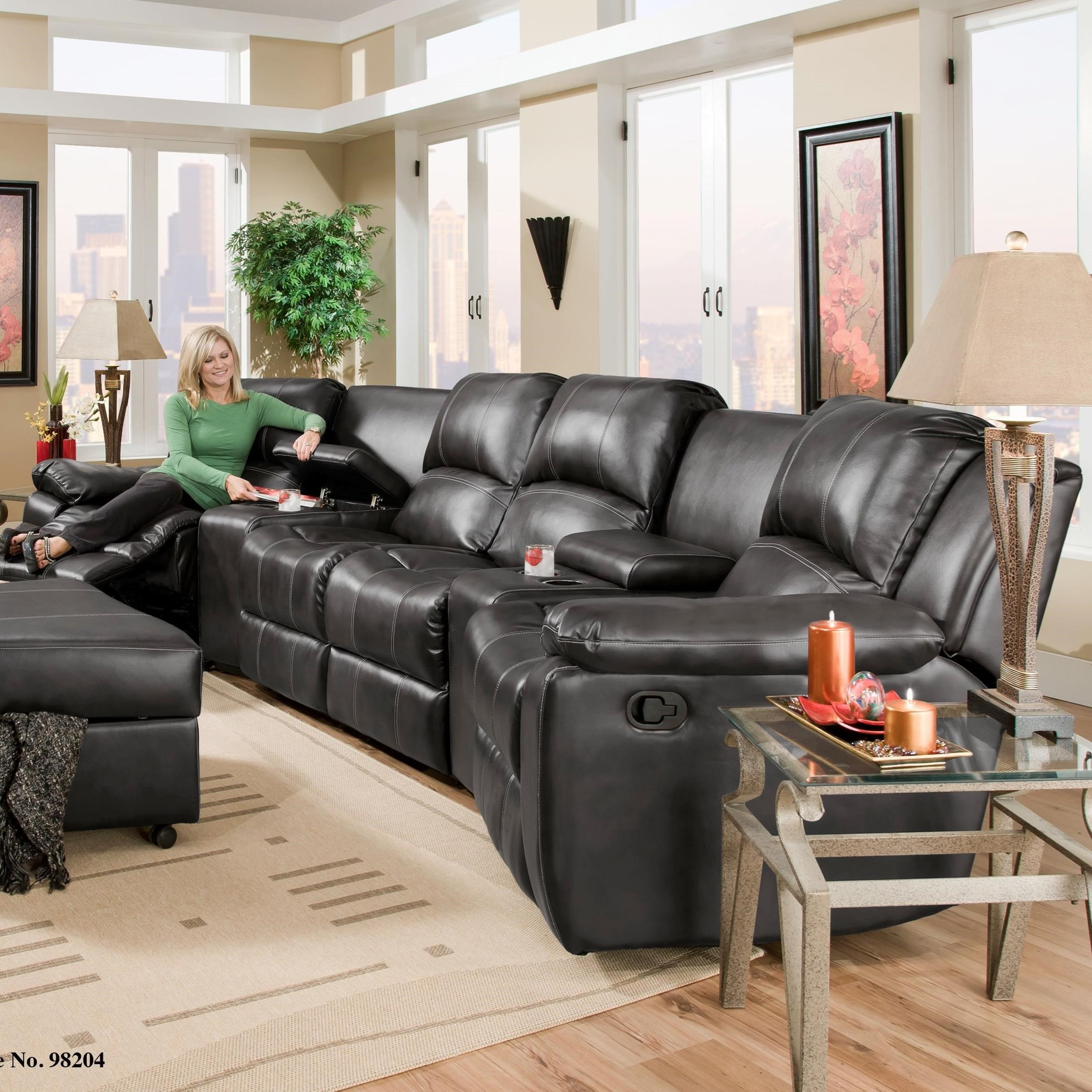 Corinthian Brady Four Seat Reclining Sectional with Consoles - Item Number: 98204-11F+50+02NA+50+11RF
