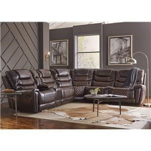 3 PC Brown Power Sectional