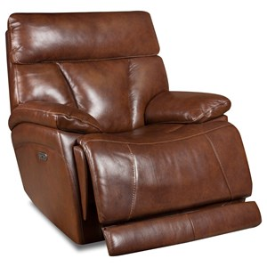 Corinthian Athens Leather Power Headrest Recliner w/ Lumbar