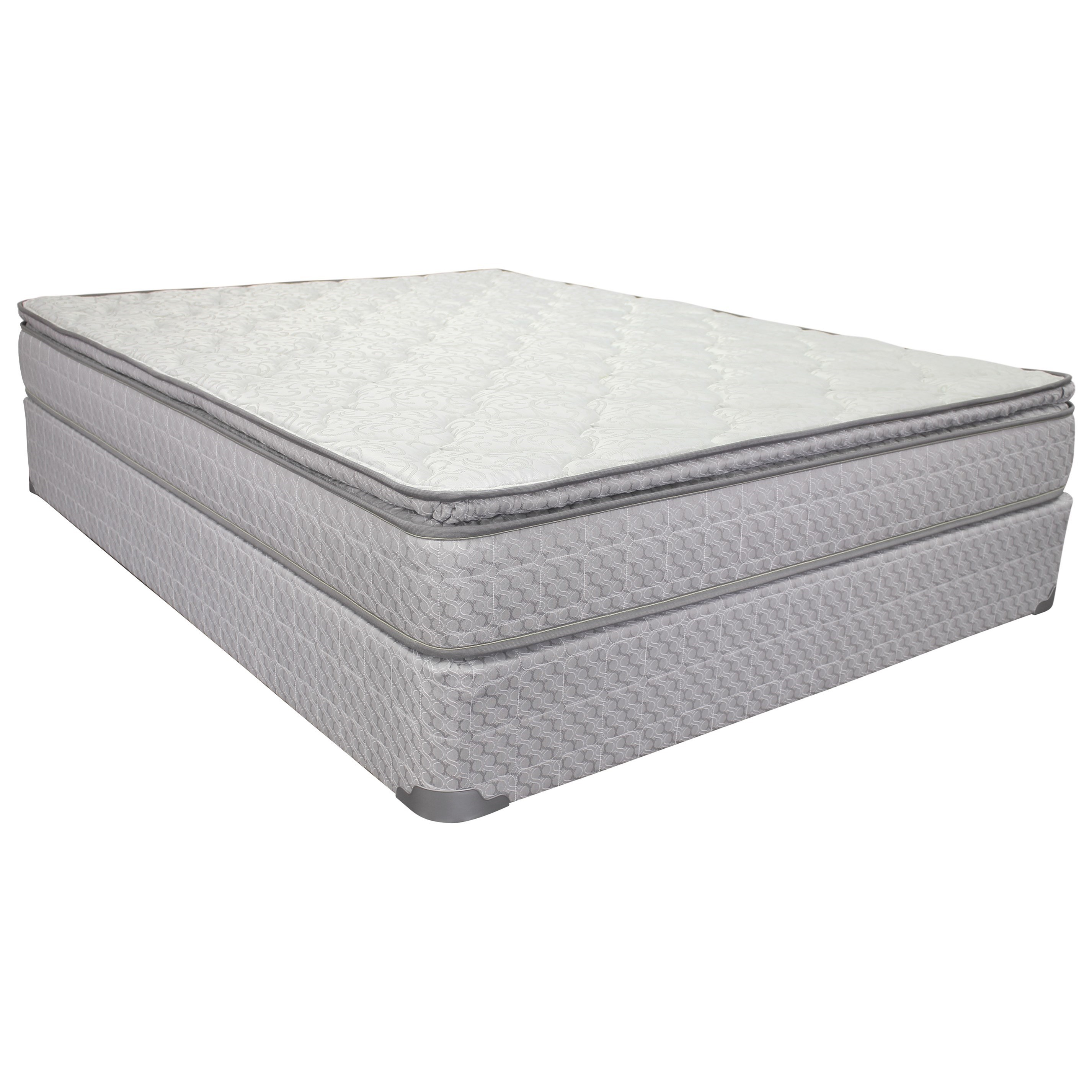 "Corsicana 1030 Broyton Pillowtop King 9 1/2"" Pillowtop Innerspring Matt Set - Item Number: 1030-K+2xWoodfndtn-TXL"