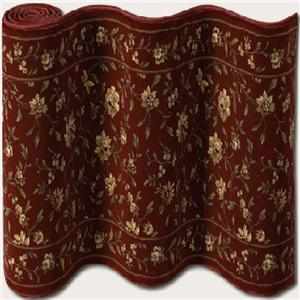 "Couristan Augusta Floral 31"" Runner : Ruby"