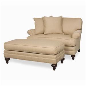 C.R. Laine Kasey Rolled Arm Chair-and-a-half & Wide Ottoman with Turned Wood Feet Set