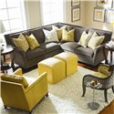 C.R. Laine Leighton  Sectional Sofa With Accent Pillows and Nailhead Trim - 2310-R+2314-L - Shown With Coordinating Accent Chairs and Ottomans