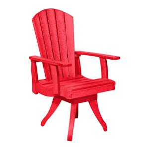 C.R. Plastic Products Adirondack - Red Swivel Dining Arm Chair