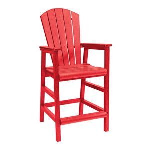 C.R. Plastic Products Adirondack - Red Pub Pedestal Chair