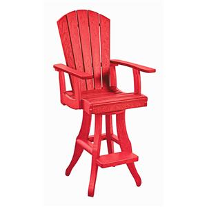 C.R. Plastic Products Adirondack - Red Swivel Arm Pub Chair