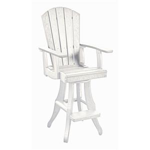 C.R. Plastic Products Adirondack - White Swivel Arm Pub Chair