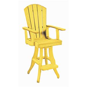 C.R. Plastic Products Adirondack - Yellow Swivel Arm Pub Chair
