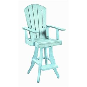 C.R. Plastic Products Adirondack - Aqua Swivel Arm Pub Chair