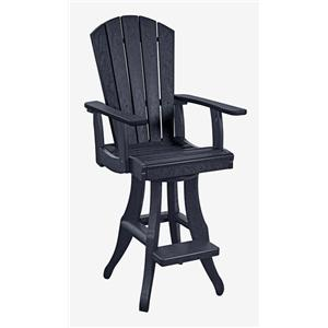 C.R. Plastic Products Adirondack - Black Swivel Arm Pub Chair