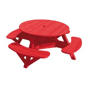 C.R. Plastic Products Adirondack - Red Picnic Table