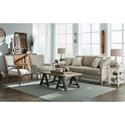 Hickory Craft 064710 Transitional Chair with Wing Back and Turned Legs
