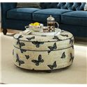 Craftmaster Accent Ottomans Round Butterfly Cocktail Ottoman