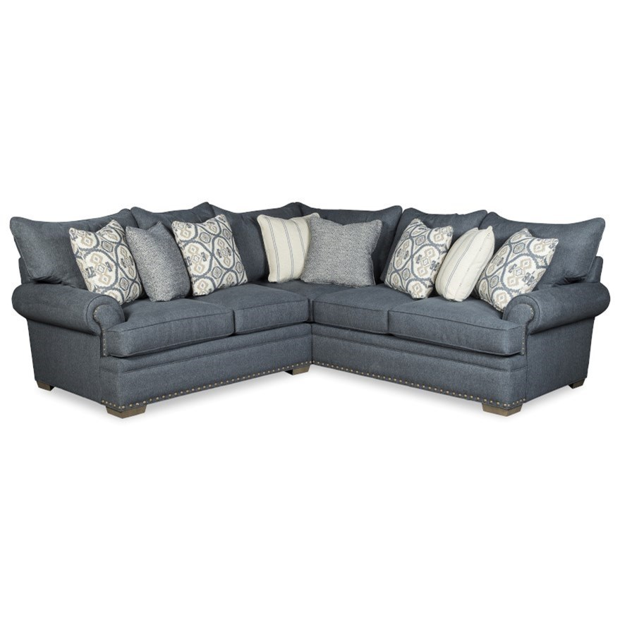 701650 4-Seat Sectional Sofa w/ LAF Loveseat by Craftmaster at Hudson's Furniture