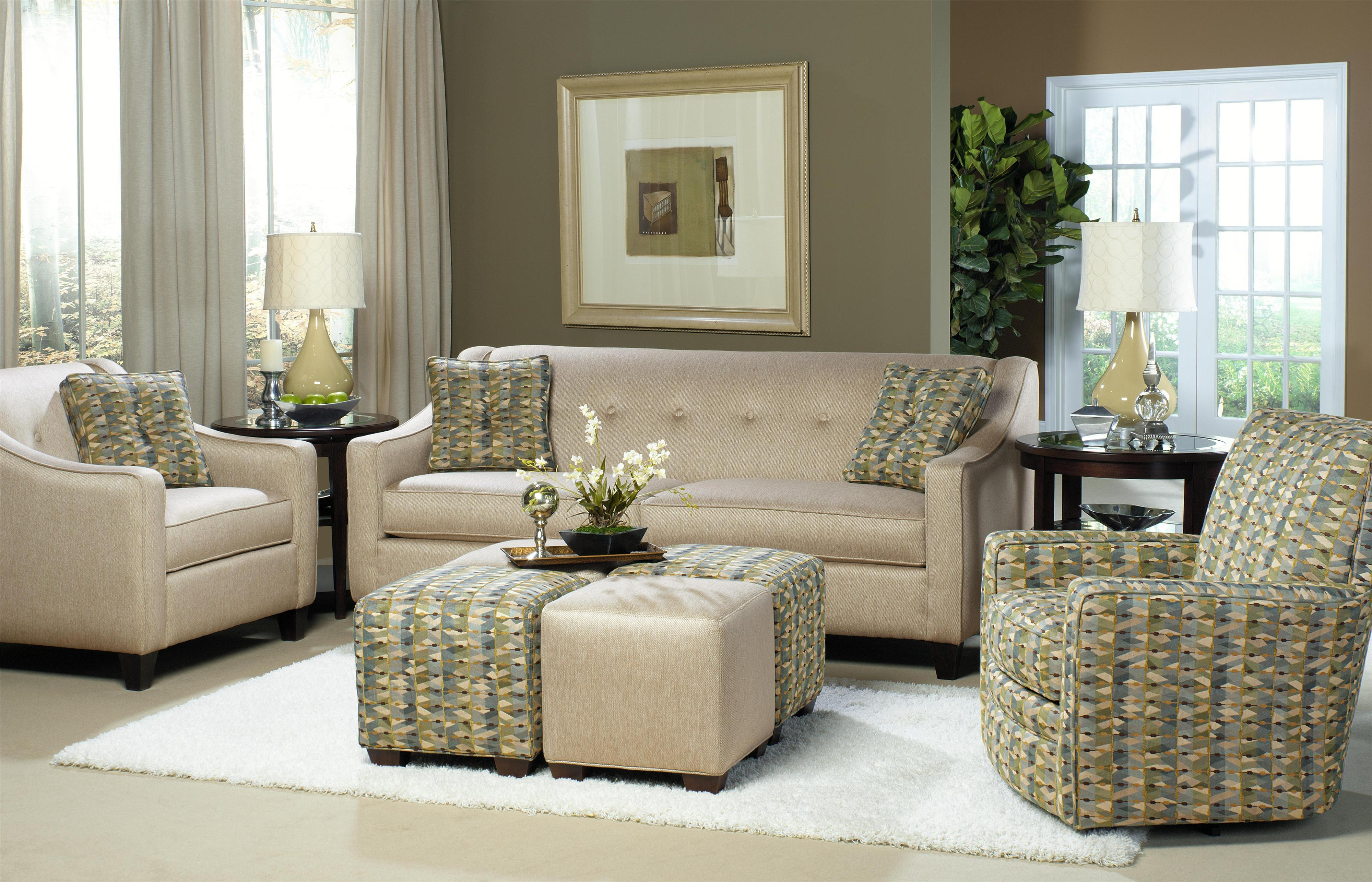 Craftmaster 7069 Contemporary Queen Sleeper With Button Detail Miskelly Furniture Sleeper Sofas