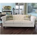 Craftmaster Olivia Button-Tufted Sofa with Flared and Pleated Arms