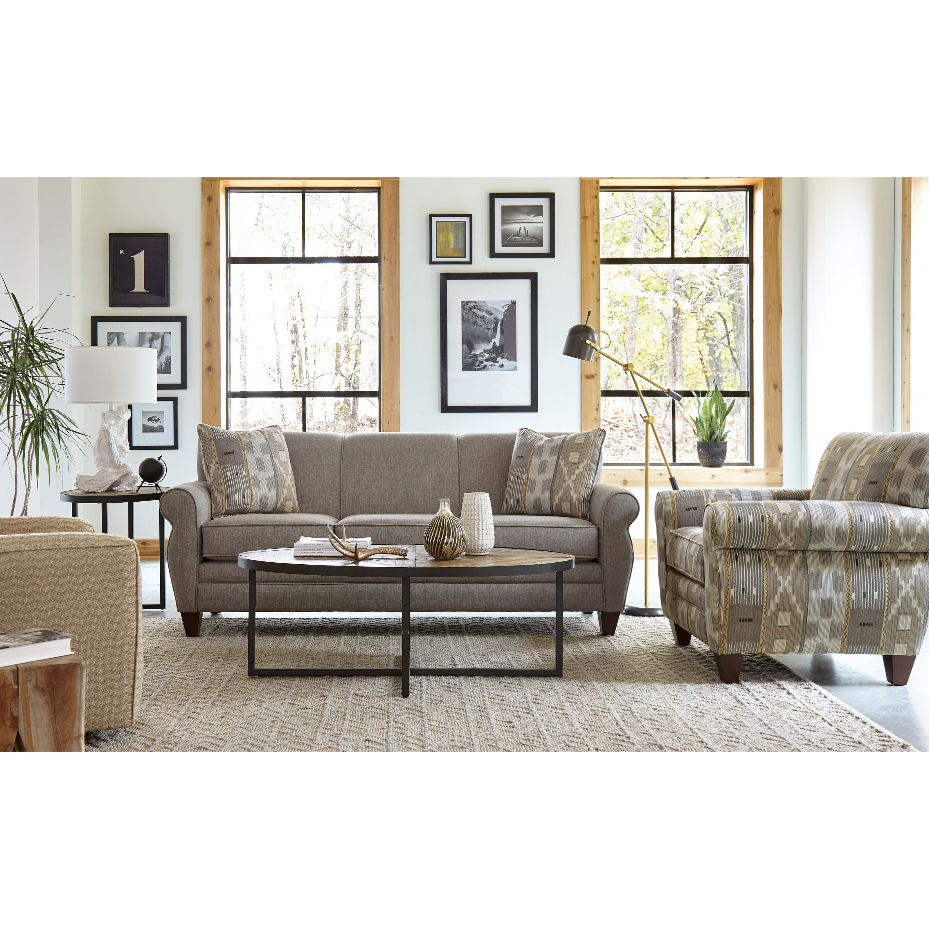Craftmaster 7388 Transitional Stationary Sofa With Rolled