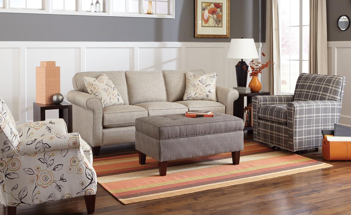 Craftmaster 742100 Transitional Sofa With Sock Rolled Arms Fashion Furniture Sofas