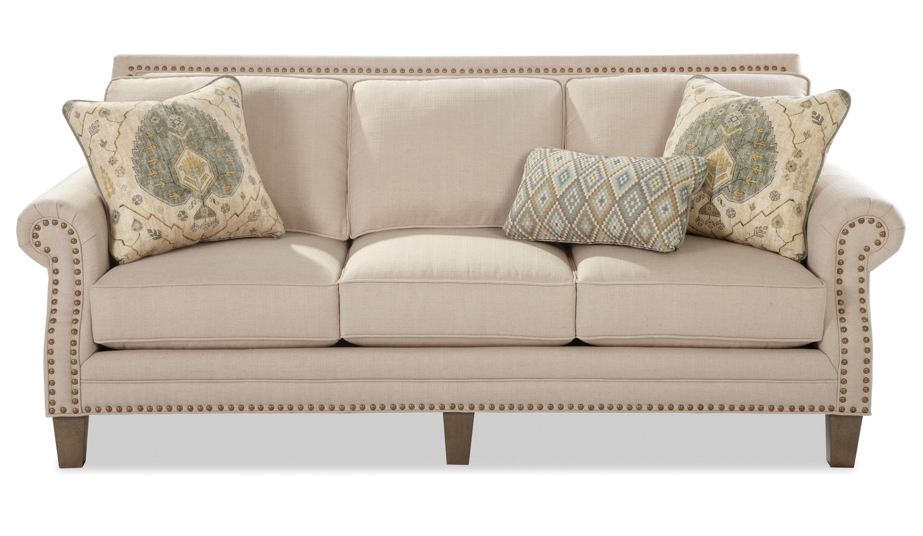 Craftmaster 747 Transitional Sofa with Brass Nailheads - Miskelly Furniture - Sofas