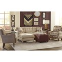 Craftmaster 7661 Stationary Tufted Sofa with Chaise Lounge and USB Charging Port