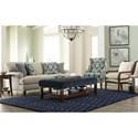 Craftmaster 767350-767450-767550-767650 Transitional Sofa with Brass Nails